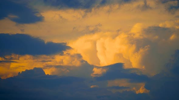Thumbnail for Red Sunset Sky Clouds Timelapse Background, Day Night Dramatic Sunset Sky