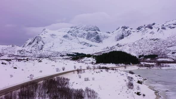 Thumbnail for Road and Mountains in Winter. Lofoten Islands, Norway. Aerial View