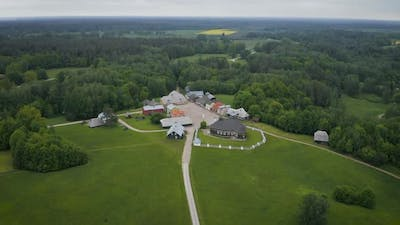 Aerial View Of Historical Lithuanian Village In Rumsiskes