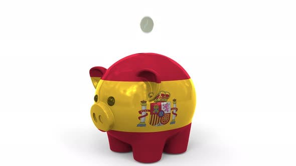 Thumbnail for Coins Fall Into Piggy Bank Painted with Flag of Spain