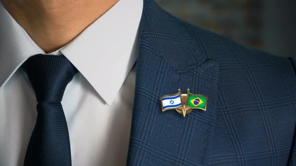 Cover Image for Businessman Friend Flags Pin Israel Brazil