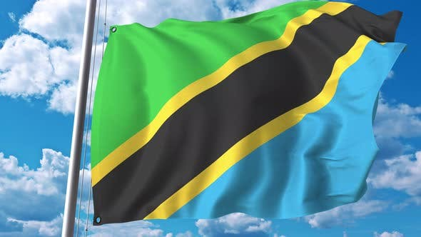Thumbnail for National Flag of Tanzania on Sky Background