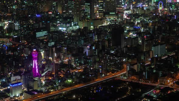 Osaka Main Highways at Illuminated Night Timelapse