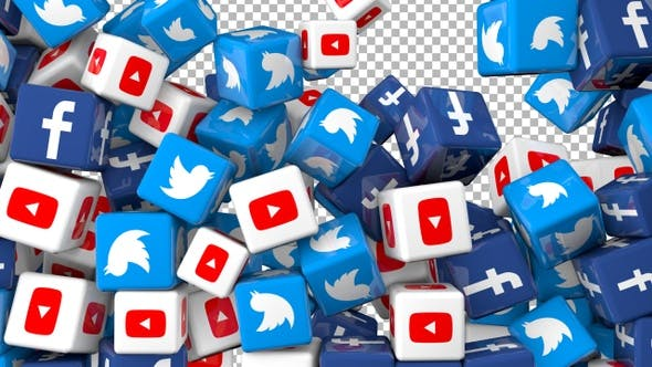Social Media Icons Transition - Facebook, Twitter  and Youtube