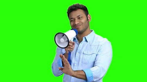 Indian Man with Megaphone on Green Screen