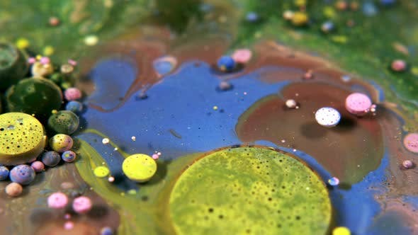 Thumbnail for Abstract Colorful Acrylic And Food Paint Bubbles On Water  33