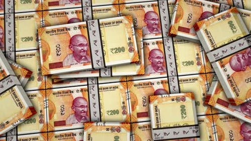 Indian rupee money banknotes animation