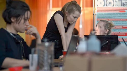 Female Office Workers Cooperating in Office