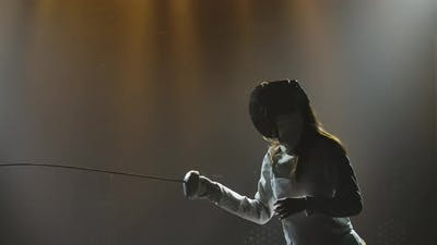 Swordsman Woman Training with Rapier