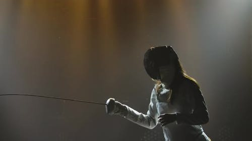 Swordsman Woman Training with Rapier
