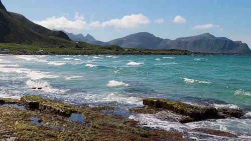 Beach Lofoten Islands Is an Archipelago in the County of Nordland, Norway