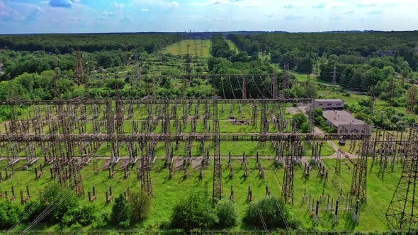 High voltage station. Electric station engineering construction on a plant
