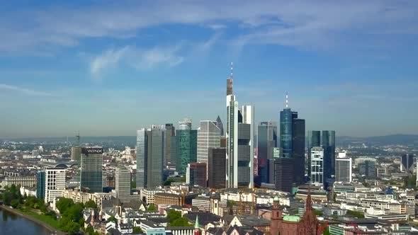 AERIAL: Towards Frankfurt Am Main, Germany with Main River on Beautiful Sunny Day
