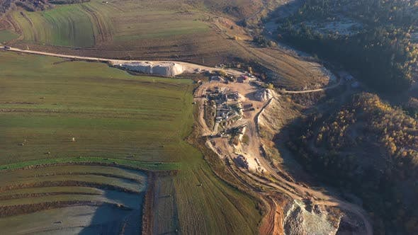 Aerial Drone View of Mining Quarry, Crushing Machinery for Crushed Stone and Gravel