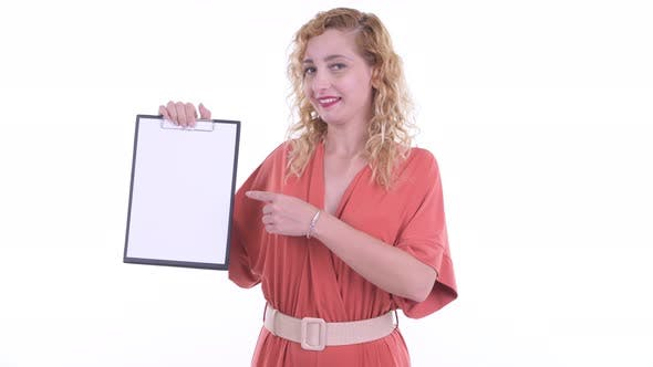 Thumbnail for Happy Beautiful Blonde Businesswoman Showing Clipboard and Giving Thumbs Up