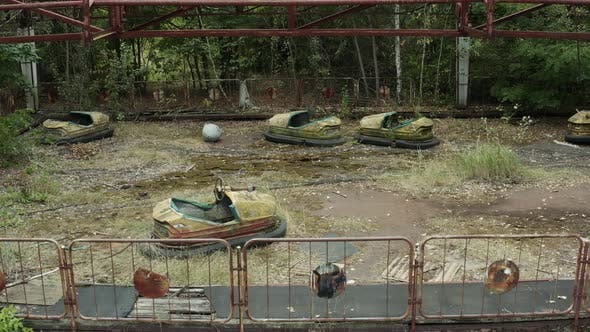 Aerial View of an Abandoned Amusement Park in Pripyat Ghost Town Exclusion Zone of Chernobyl Ukraine