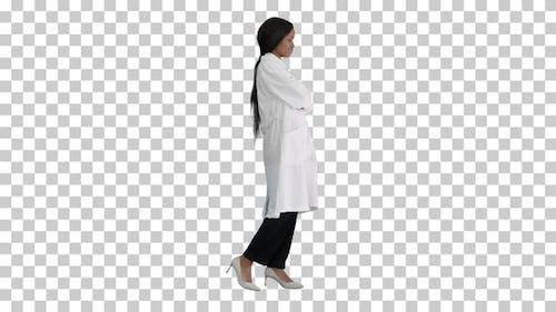 Pretty african american female doctor posing, Alpha Channel