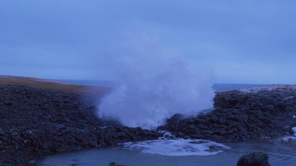 Thumbnail for Iceland Ocean Water Erupting From Cave Blow Hole In Arnarstapi