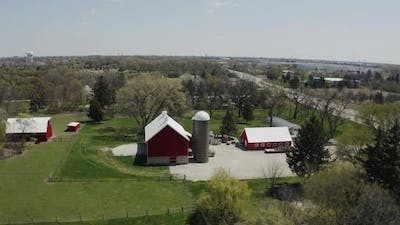 Aerial Drone Shot of American Countryside Landscape