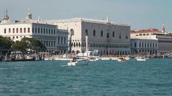 Panoramic view of Venice coast with historical buildings and Laguna Veneta