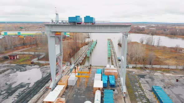 Cargo Port - A Big Outdoors Area for Shipping with Freight Carriage on Rails