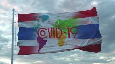 Covid19 Sign on the National Flag of Thailand