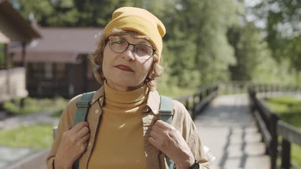 Portrait of Senior Female Hiker in Park