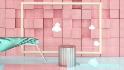 Viele Geometrien im Cartoon-Raum, schwebende Wolken.
