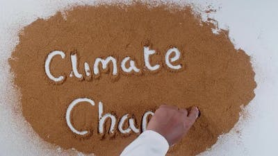Hand Writes On Soil  Climate Change