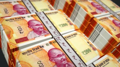 Indian rupee money banknotes pack seamless loop