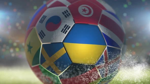 Thumbnail for Ukraine Flag on a Soccer Ball - Football in Stadium