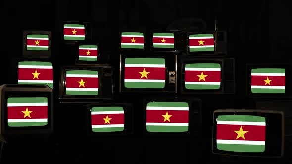 Flags of the Republic of Suriname and Retro TVs.