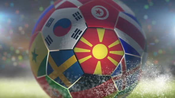 Thumbnail for North Macedonia Flag on a Soccer Ball - Football in Stadium