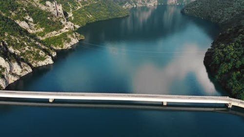 Aerial View To Clear Blue Mountain Lake, Montenegro