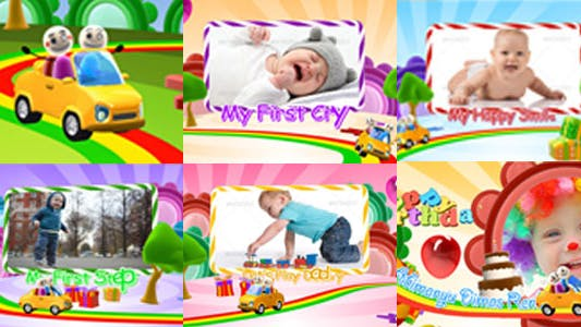 Introducción Niños Feliz Cumpleaños con Foto Vídeo Display