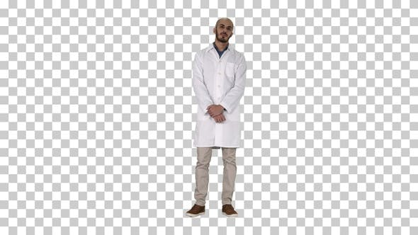 Cover Image for Standing young serious arab doctor, Alpha Channel