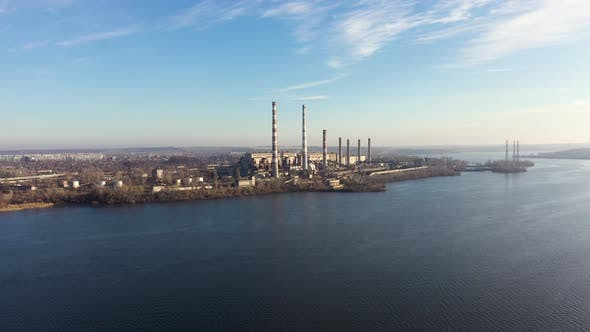 Aerial View of Coal-Fired Power Plant in a Large Area Near the River