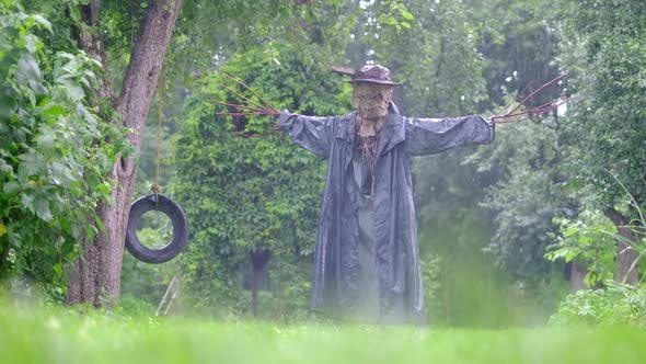 Scary Scarecrow in a Rain