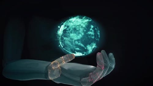 Robot Hand Holding Planet Earth 3d Rendering Hd