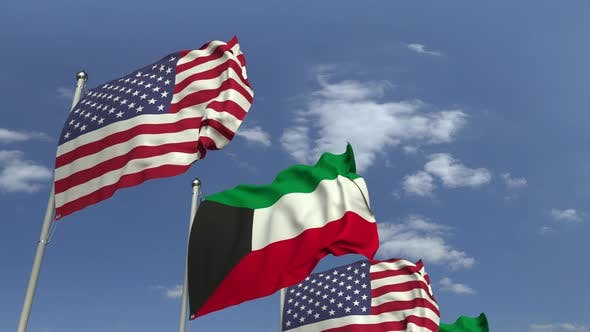 Thumbnail for Flags of Kuwait and the USA at International Meeting