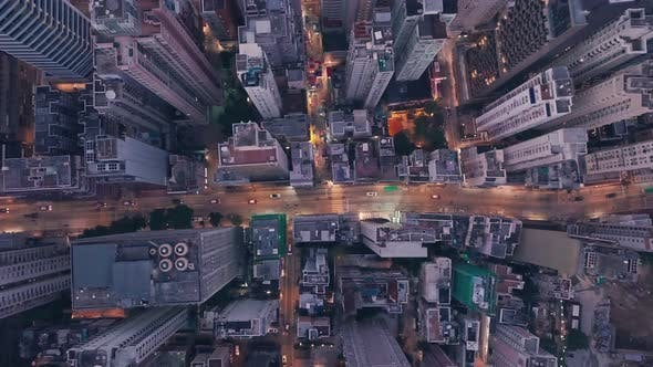 City centre traffic driving inHong Kong Island Central at night. Aerial drone view