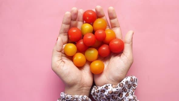 Red Color Cherry Tomato Women's Hand