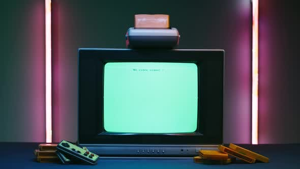 Old Television with White Screen on Neon Background