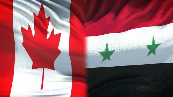 Thumbnail for Canada vs Syria Confrontation, Countries Disagreement, Fists on Flag Background