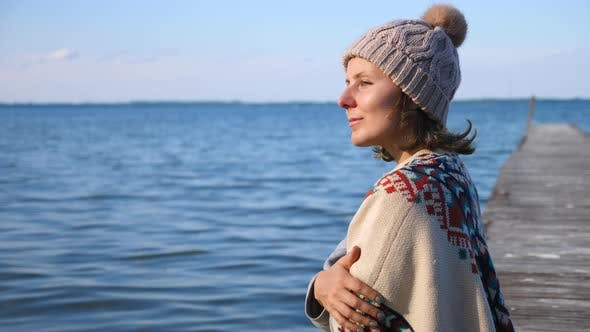 Thumbnail for People, Serenity, Peace And Happiness Concept. Female On Pier