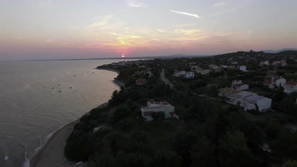 Thumbnail for Aerial View of Trikorfo Beach at Sunset, Greece
