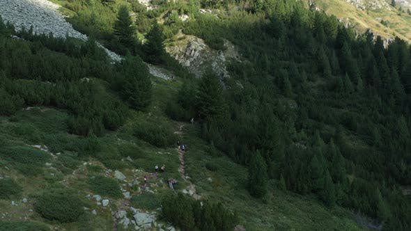 Thumbnail for Flight Over Tourists On A Trail In Pirin Mountain