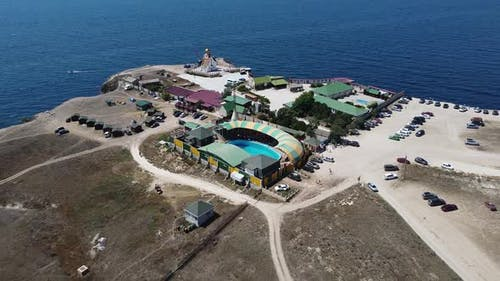 Bird's Eye View of the Openair Dolphinarium in the Steppe Tourist Area