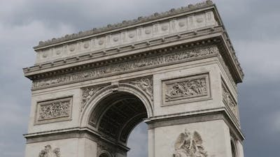 Arch of Triumph in Paris France highly detailed surface in front of cloudy sky 4K 3840X2160 30fps UH