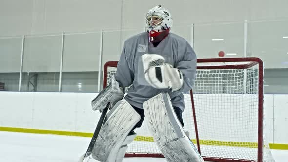 Thumbnail for Hockey Goalie Failing to Catch Puck with Glove